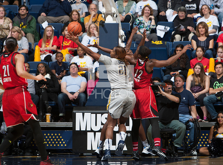 Berkeley, CA - December 21, 2014: California Golden Bears' 57-70 loss to Louisville Cardinal during NCAA Women's Basketball game at Haas Pavilion.