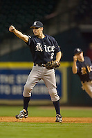 First baseman Jimmy Comerota #2 of the Rice Owls reacts after making the final putout versus the Texas A&M Aggies in the 2009 Houston College Classic at Minute Maid Park February 28, 2009 in Houston, TX.  The Owls defeated the Aggies 2-0. (Photo by Brian Westerholt / Four Seam Images)