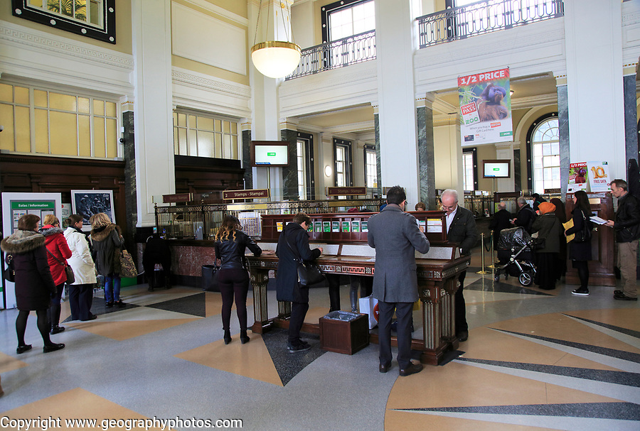 people inside the General Post Office building, O' Connell Street, Dublin city centre, Ireland, Republic of Ireland