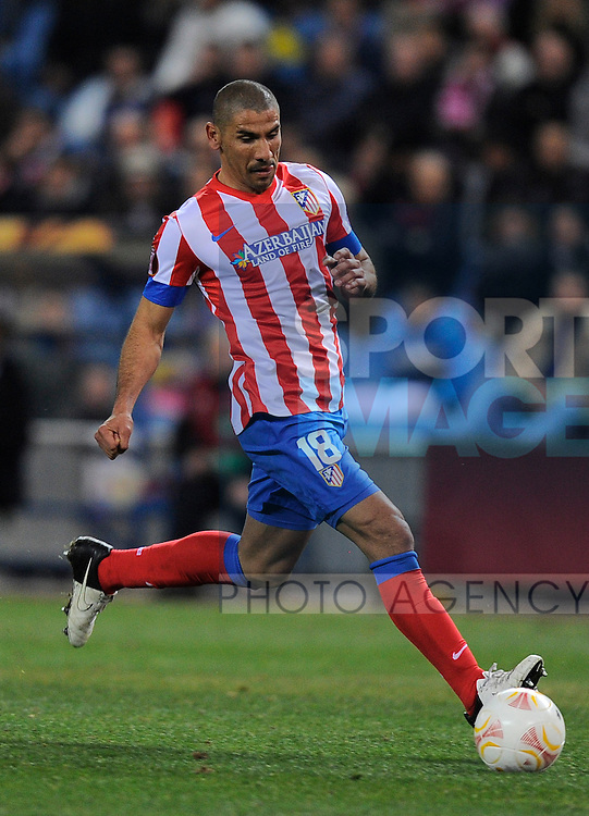 Alvaro Dominguez of Atletico Madrid - UEFA Europa League Round of 32 - Atletico Madrid vs Rubin Kazam - Vincente Calderon Stadium - Madrid - 14/02/13 - Picture Simon Bellis/Sportimage
