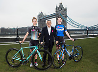 Picture by Alex Broadway/SWpix.com - 15/02/2017 - Cycling - 2017 Women's Tour Launch - London, United Kingdom - Abi Van Twisk, Sadiq Khan and Katie Archibald.