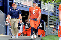 Wednesday, August 17, 2016: Chicago Bears quarterback Jay Cutler (6) walks to the practice field at a joint training camp session between the Chicago Bears and the New England Patriots held at Gillette Stadium in Foxborough Massachusetts. Eric Canha/CSM