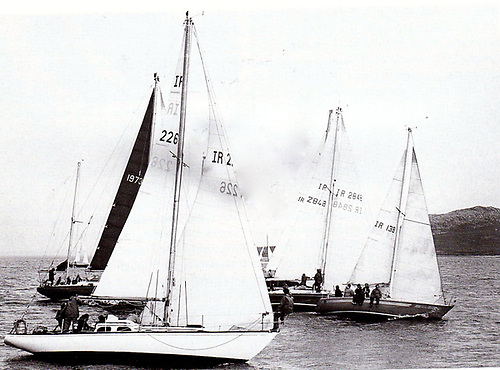 Robert Dix helming Sarnia to a neat pier start off Howth Harbour