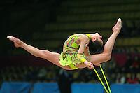 "Aliya Garaeva competing for Azerbaijan performs split leap with rope at 2007 World Cup Kiev, ""Deriugina Cup"" in Kiev, Ukraine on March 16, 2007."