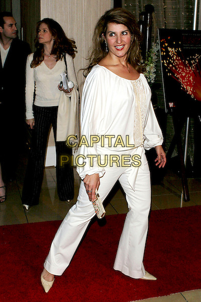 NIA VARDALOS.Women In Film presents Fusion, The 2005 Crystal and Lucy Awards An Evening Celebrating Partnership held at the Beverly Hilton, Beverly Hills, CA, USA, .10th June 2005..full length white top trousers cream funny.Ref: ADM.www.capitalpictures.com.sales@capitalpictures.com.©Jacqui Wong/AdMedia/Capital Pictures.