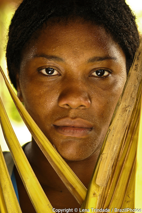 Portrait of Brazilian young black woman, Maranhão State, Brazil.
