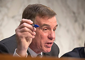United States Senator Mark Warner (Democrat of Virginia), Vice Chairman, US Senate Committee on Intelligence, makes a closing statement during a hearing to examine worldwide threats on Capitol Hill in Washington, DC on Tuesday, February 13, 2018<br /> Credit: Ron Sachs / CNP