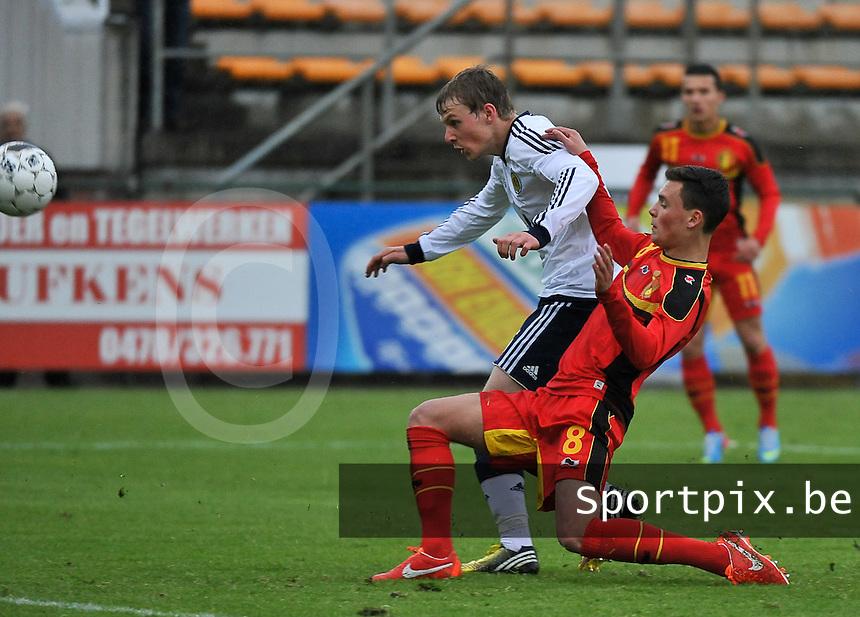 Scotland U19 - Belgium U19 : Stephen Kingsley (5) and Birger Verstraete (8).foto DAVID CATRY / Nikonpro.be