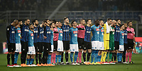 Calcio, Serie A: Inter - Napoli, Milano, stadio Giuseppe Meazza (San Siro), 11 marzo 2018.<br /> The players and match officials line up during a minute of silence in memory of Davide Astori before the Italian Serie A football match between Inter Milan and Napoli at Giuseppe Meazza (San Siro) stadium, March 11, 2018.<br /> UPDATE IMAGES PRESS/Isabella Bonotto
