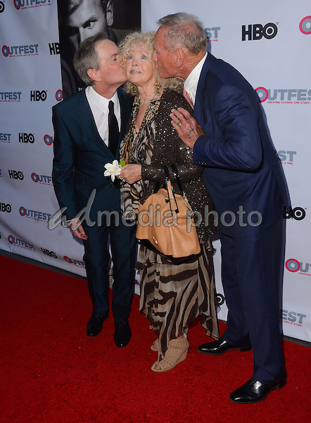"11 July 2015 - West Hollywood, California - Allan Glaser, Connie Stevens, Tab Hunter. Arrivals for the 2015 Outfest Los Angeles LGBT Film Festival screening of ""Tab Hunter Confidential"" held at The DGA Theater. Photo Credit: Birdie Thompson/AdMedia"