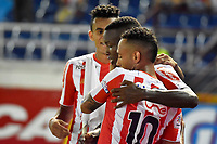 BARRANQUIILLA - COLOMBIA, 17-10-2018: Jugadores del Atlético Junior celebran después de anotar un gol a Patriotas Boyaca durante partido por la fecha 15 de la Liga Águila II 2018 jugado en el estadio Metropolitano Roberto Meléndez de la ciudad de Barranquilla. / Players of Atletico Junior celebrate after scoring a goal to Patriotas Boyaca during match for the date 15 of the Aguila League II 2018 played at Metropolitano Roberto Melendez stadium in Barranquilla city.  Photo: VizzorImage/ Alfonso Cervantes / Cont