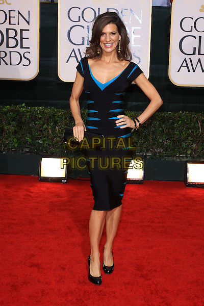 PERREY REEVES.67th Golden Globe Awards held Beverly Hilton, Beverly Hills, California, USA..January 17th, 2010.full length black blue turquoise dress hand on hip clutch bag herve leger body con globes.CAP/ADM/KB.©Kevan Brooks/Admedia/Capital Pictures