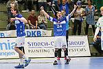 Siegjubel BHCs Linus Arnesson (Nr.24)und BHCs Rudeck, Christopher (Nr.01)  im Spiel der Handballliga, Bergischer HC - SC DHFK Leipzig.<br /> <br /> Foto &copy; PIX-Sportfotos *** Foto ist honorarpflichtig! *** Auf Anfrage in hoeherer Qualitaet/Aufloesung. Belegexemplar erbeten. Veroeffentlichung ausschliesslich fuer journalistisch-publizistische Zwecke. For editorial use only.