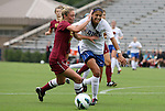 19 August 2012: Elon's Kimmie Krause (left) and Duke's Kim DeCesare (right) challenge for the ball. The Duke University Blue Devils defeated the Elon University Phoenix 8-0 at Koskinen Stadium in Durham, North Carolina in a 2012 NCAA Division I Women's Soccer game.