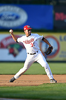 Tri-City ValleyCats third baseman Nick Tanielu (30) throws to first during a game against the Batavia Muckdogs on August 2, 2014 at Joseph L. Bruno Stadium in Troy, New  York.  Tri-City defeated Batavia 8-4.  (Mike Janes/Four Seam Images)
