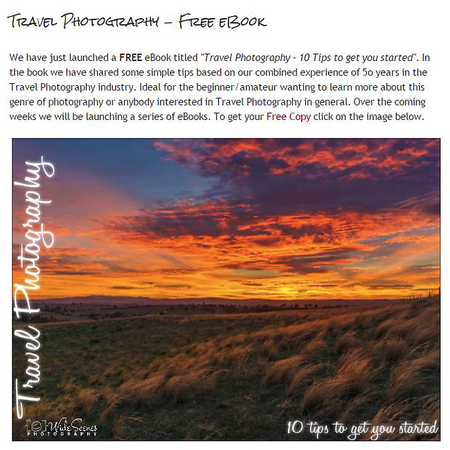 Free eBook - 10 Tips to getting started in travel photography<br /> <br /> To download and view all our other free eBooks visit this link - http://www.widescenes.com/e-books.html