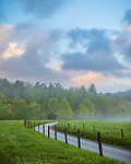Great Smoky Mountains National Park, TN/NC: Road leading to the Dan Lawson Place at sunrise with clearing ground fog; Cades Cove