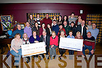 CHEQUES: John Murray chairman of the Churchill Drama Group who presented cheques to members of the Fenit Fishermans Memorial Fund (?1,000) and Kerry Parents and Friends Association,(?900) on Friday night in the Tankard Bar & Restaurant, Fenit,on behalf of members of Churchill dramas group.