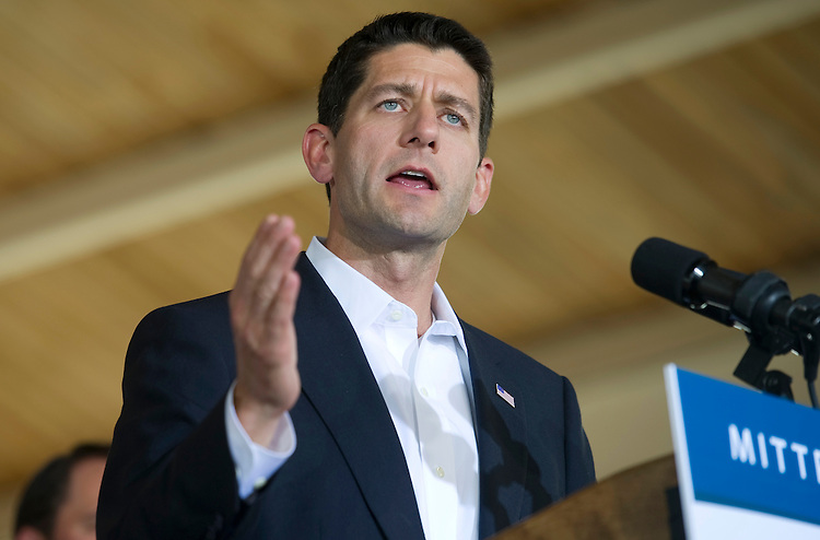 """UNITED STATES - AUGUST 11:  Rep. Paul Ryan, R-Wi., speaks at a rally in Manassas during the ?Plan For A Stronger Middle Class"""" bus tour in Virginia. GOP presidential candidate Mitt Romney announced this morning that Ryan will be his running mate as vice president. (Photo By Chris Maddaloni/CQ Roll Call)"""