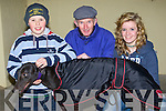 Droopys Tea bag with his owners and trainers after she came third in the 7th race in the Mike Cronin Ready,mis juvenille Semi-final at the Kingdom Greyhound Stadium, Tralee on Thursday night. l-r: Dean Cpleman (Doon, Tralee), Brendan Hobbert(Tralee) and Aoife Dunphy(owner).   Copyright Kerry's Eye 2008