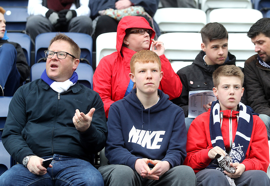 Preston North End's Fans<br /> <br /> Photographer Mick Walker/CameraSport<br /> <br /> Football - The Football League Sky Bet League One - Preston North End v Rochdale -  Friday 3rd April 2015 - Deepdale - Preston<br /> <br /> &copy; CameraSport - 43 Linden Ave. Countesthorpe. Leicester. England. LE8 5PG - Tel: +44 (0) 116 277 4147 - admin@camerasport.com - www.camerasport.com