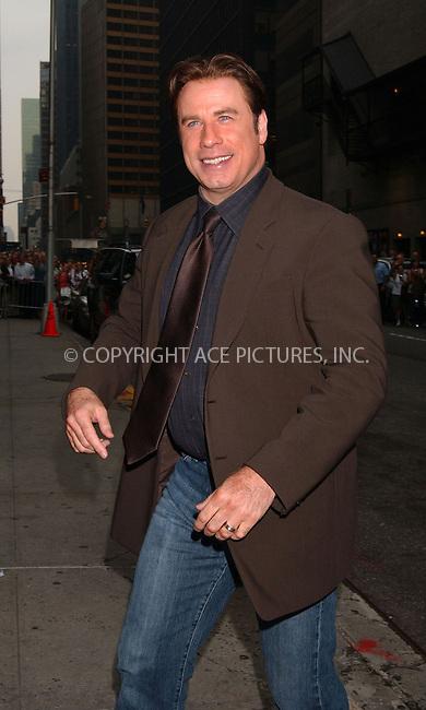 WWW.ACEPIXS.COM . . . . . ....July 18 2007, New York City....Actor John Travolta arriving at 'The Late Show with David Letterman' at the Ed Sullivan Theatre in midtown Manhattan....Please byline: KRISTIN CALLAHAN - ACEPIXS.COM.. . . . . . ..Ace Pictures, Inc:  ..(646) 769 0430..e-mail: info@acepixs.com..web: http://www.acepixs.com