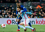 Nelson Cabral Semedo (L) of FC Barcelona fights for the ball with Jozabed Sanchez Ruiz of RC Celta de Vigo during the Copa Del Rey 2017-18 Round of 16 (2nd leg) match between FC Barcelona and RC Celta de Vigo at Camp Nou on 11 January 2018 in Barcelona, Spain. Photo by Vicens Gimenez / Power Sport Images