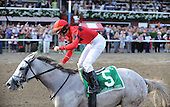 Careless Jewel, ridden by Robert Landry, wins the $600,000 Grade 1 Alabama Stakes at Saratoga on Aug. 23, 2009, for trainer Josie Carroll and owners Vern and Donna Dubinsky.