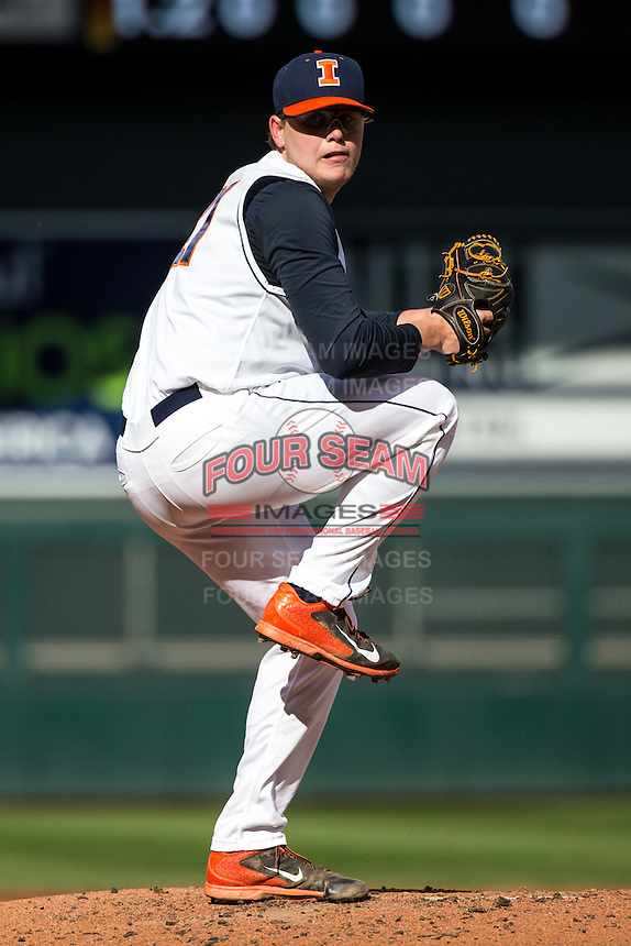 Kevin Duchene (21) of the Illinois Fighting Illini pitches during the 2015 Big Ten Conference Tournament between the Illinois Fighting Illini and Nebraska Cornhuskers at Target Field on May 20, 2015 in Minneapolis, Minnesota. (Brace Hemmelgarn/Four Seam Images)