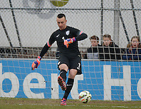 20150314 - GENDT , NETHERLANDS  : Dutch goalkeeper Justin Bijlow pictured during the soccer match between Under 17 teams of  The Netherlands and Northern Ireland , on the second matchday in group 3 of the UEFA Elite Round Under 17 at De Bataven Stadion , Gendt , The Netherlands . Saturday  14 th March 2015 . PHOTO DAVID CATRY