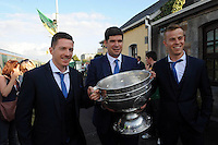 27-9-2014:  Kieran o'Leary, Eamonn Fitzmaurice and Fionn Fitzgerald joint captains  at the Kerry Team homecoming in Rathmore, County Kerry last evening.<br /> Picture by Don MacMonagle