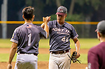 MERIDEN,  CT-072919JS10-- Naugatuck's pitcher Nick Delucia (44) is congratulated by teammate Tristan Bosco (1) after getting out of a jam during their American Legion baseball tournament game against Cheshire Monday at Ceppa Field in Meriden. <br /> Jim Shannon Republican-American