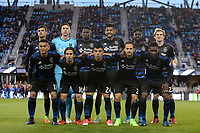 San Jose, CA - Saturday April 08, 2017: San Jose Earthquakes Starting Eleven  prior to a Major League Soccer (MLS) match between the San Jose Earthquakes and the Seattle Sounders FC at Avaya Stadium.