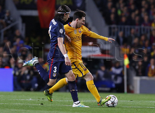 05.04.2016 Nou Camp, Barcelona, Spain. Uefa Champions League Quarter-finals 1st leg. FC Barcelona against Atletico de Madrid.  Leo Messi under pressure