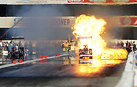 Nov 13, 2010; Pomona, CA, USA; NHRA top fuel dragster driver Lex Joon explodes an engine during qualifying for the Auto Club Finals at Auto Club Raceway at Pomona. Mandatory Credit: Mark J. Rebilas-