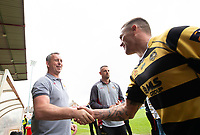 Picture by Allan McKenzie/SWpix.com - 22/04/2018 - Rugby League - Ladbrokes Challenge Cup - York City Knight v Catalans Dragons - Bootham Crescent, York, England - Steve McNamara shakes hands with Ben Cockayne.