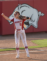 NWA Democrat-Gazette/ANDY SHUPE<br /> Arkansas third baseman Autumn Buczek celebrates Friday, May 18, 2018, after the final out of the Razorbacks' 2-0 win over DePaul at Bogle Park during the NCAA Fayetteville Softball Regional on the university campus in Fayetteville. Visit nwadg.com/photos to see more photographs from the game.