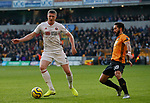 John Lundstram of Sheffield Utd and Diogo Jota of Wolves  during the Premier League match at Molineux, Wolverhampton. Picture date: 1st December 2019. Picture credit should read: Simon Bellis/Sportimage
