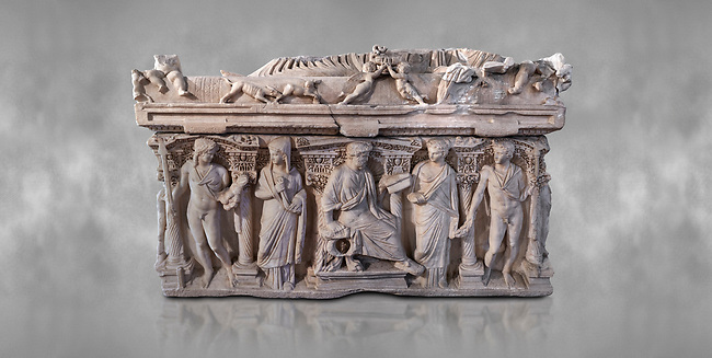 "Side panel of a Roman relief sculpted sarcophagus with kline couch lid, ""Columned Sarcophagi of Asia Minor"" style typical of Sidamara, 3rd Century AD, Konya Archaeological Museum, Turkey."