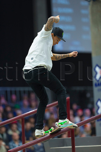 25.02.2016. Warehouse 13  Oslo, Norway.  X Games Oslo 2016. Mens Skateboard final.Nyjah Huston of United States competes in the men's skateboard street final  during the X Games Oslo 2016 at the warehouse 13  in Oslo, Norway.