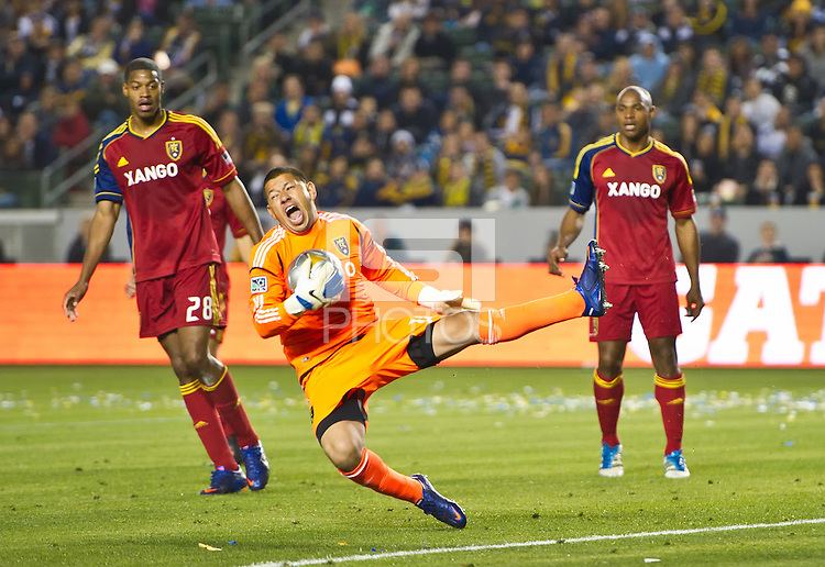 CARSON, CA - March 10,2012: Real Salt Lake goalie Nick Rimando (18) makes a save against the LA Galaxy at the Home Depot Center in Carson, California. Final score LA Galaxy 1, Real Salt Lake 3.