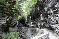 WATKINS GLEN<br /> Overall View<br /> A 1 1/2 mile gorge that was initially a creek left by a glacier that melted around 10,000 years ago.  Shale, limestone and sandstone carved by water erosion of fractures (joints) that become ledges that erode further into cascading waterfalls.