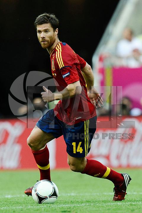 GDANSK, POLONIA, 10 JUNHO 2012 - EURO 2012 -  ESPANHA X ITALIA - Xabi Alonso jogador da Espanha durante partida contra a Italia  em jogo valido pela primeira rodada do Grupo C, na Arena de Gdansk na Polonia neste domingo, 10. (FOTO: DANIELE BUFFA / PIXATHLON / BRAZIL PHOTO PRESS.