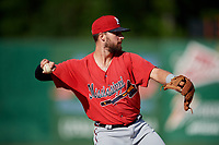 Mississippi Braves third baseman Daniel Lockhart (17) throws to first base during a Southern League game against the Jackson Generals on July 23, 2019 at The Ballpark at Jackson in Jackson, Tennessee.  Jackson defeated Mississippi 2-0 in the first game of a doubleheader.  (Mike Janes/Four Seam Images)