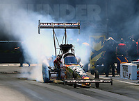 Jun 18, 2016; Bristol, TN, USA; NHRA top fuel driver Terry McMillen during qualifying for the Thunder Valley Nationals at Bristol Dragway. Mandatory Credit: Mark J. Rebilas-USA TODAY Sports