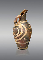 Minoan decorated Kamares  style jug with swirl pattern, Poros cemetery 1800-1650 BC; Heraklion Archaeological  Museum, grey background.
