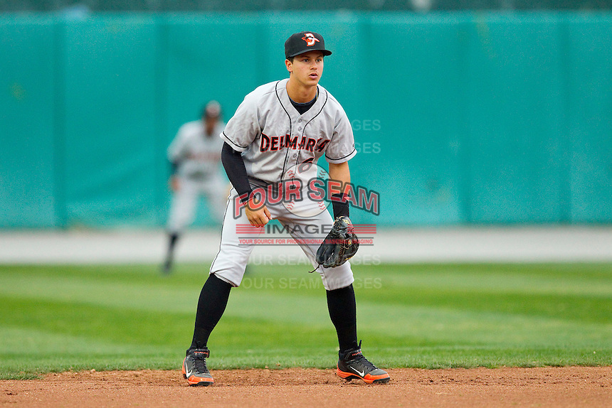 Delmarva Shorebirds shortstop Adrian Marin (6) on defense against the Hagerstown Suns at Municipal Stadium on April 11, 2013 in Hagerstown, Maryland.  The Shorebirds defeated the Suns 7-4 in 10 innings.  (Brian Westerholt/Four Seam Images)