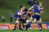 Fritz Lee charges through the Otago forward defenders. ITM Cup Round 1 game between the Counties Manukau Steelers and Otago, played at Bayer Growers Stadium, Pukekohe, on Saturday July 31st 2010. Counties Manukau Steelers won 29 - 13 after leading 22 - 6 at halftime.