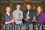 MERIT AWARDS: Winner's of the Merit Award winner's at the AAI Kerry awards ceremony in the Brandon hotel on Saturday l-r: Jonathan Foley (Farranfore Maine Valley AC), Luke O'Keefe (St. Brendan's AC), James Nagle (Farranfore Maine Valley AC) and Sinead O'Connor (Tralee Harriers AC).