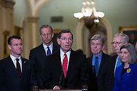 United States Senator John Barrasso (Republican of Wyoming) speaks to members of the media following Republican policy luncheons at the United States Capitol in Washington D.C., U.S. on Tuesday, February 11, 2020.  <br /> <br /> Credit: Stefani Reynolds / CNP/AdMedia